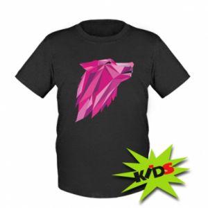 Kids T-shirt Wolf graphics pink