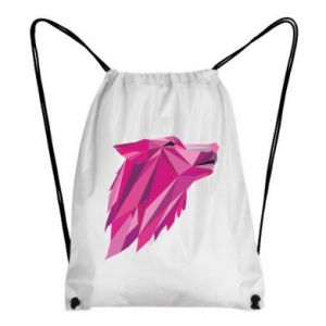 Backpack-bag Wolf graphics pink