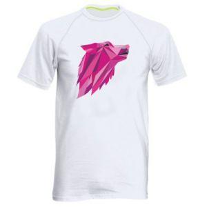 Męska koszulka sportowa Wolf graphics pink