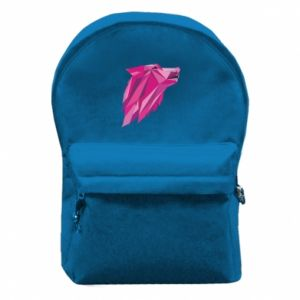 Backpack with front pocket Wolf graphics pink - PrintSalon