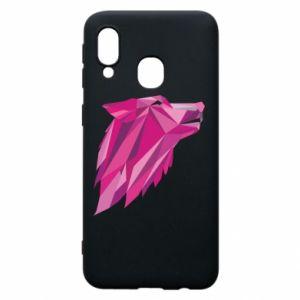 Etui na Samsung A40 Wolf graphics pink