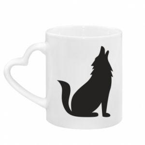 Kubek z uchwytem w kształcie serca Wolf howls