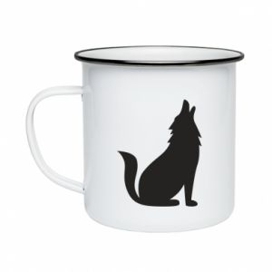 Kubek emaliowany Wolf howls