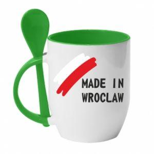 Kubek z ceramiczną łyżeczką Made in Wroclaw