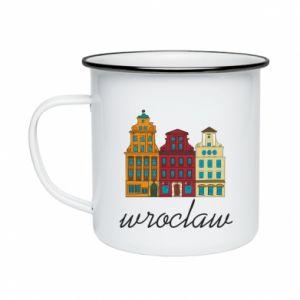 Enameled mug Wroclaw illustration