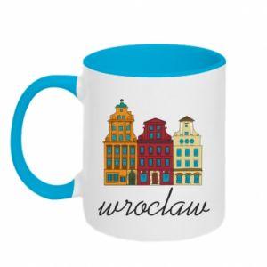 Two-toned mug Wroclaw illustration