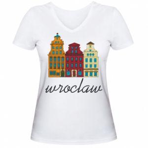 Women's V-neck t-shirt Wroclaw illustration