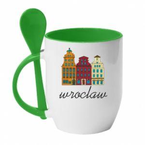Mug with ceramic spoon Wroclaw illustration