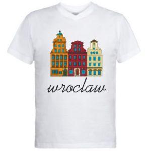 Męska koszulka V-neck Wroclaw illustration - PrintSalon