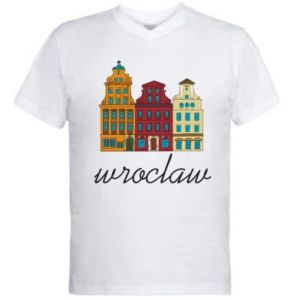 Men's V-neck t-shirt Wroclaw illustration