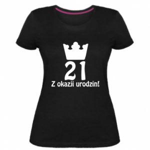 Damska premium koszulka Wszystkiego najlepszego! 21 lat