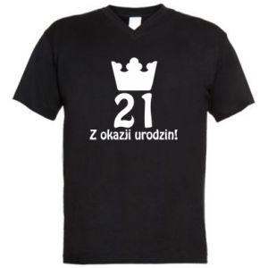 Męska koszulka V-neck Wszystkiego najlepszego! 21 lat