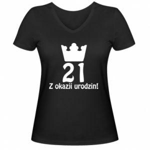 Damska koszulka V-neck Wszystkiego najlepszego! 21 lat