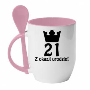 Kubek z ceramiczną łyżeczką Wszystkiego najlepszego! 21 lat