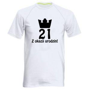 Męska koszulka sportowa Wszystkiego najlepszego! 21 lat