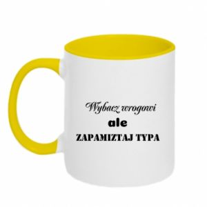 Two-toned mug Forgive the enemy but remember the type - PrintSalon