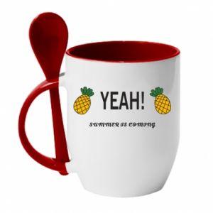 Kubek z ceramiczną łyżeczką Yeah summer is coming pineapple