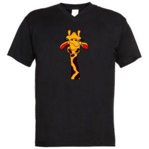 Męska koszulka V-neck Yellow giraffe