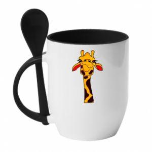 Kubek z ceramiczną łyżeczką Yellow giraffe - PrintSalon