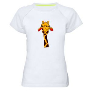 Women's sports t-shirt Yellow giraffe