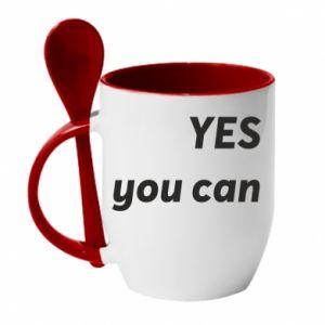 Kubek z ceramiczną łyżeczką YES you can