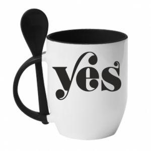 Kubek z ceramiczną łyżeczką YES