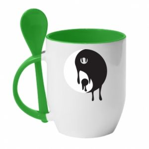 Mug with ceramic spoon Yin-Yang smudges - PrintSalon