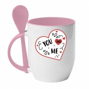 Kubek z ceramiczną łyżeczką You and me
