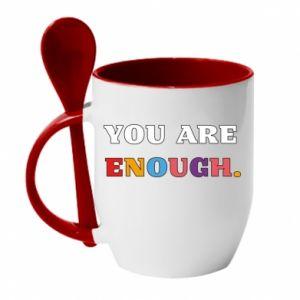 Kubek z ceramiczną łyżeczką You are enough.