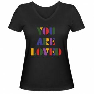 Damska koszulka V-neck You are loved