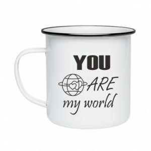 Enameled mug You are my world Earth