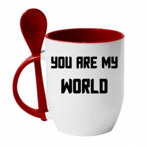 Kubek z ceramiczną łyżeczką You are my world