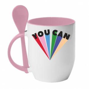 Kubek z ceramiczną łyżeczką You can