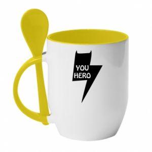 Kubek z ceramiczną łyżeczką You hero