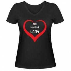 Damska koszulka V-neck You make my happy