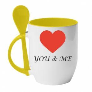 Kubek z ceramiczną łyżeczką You & me