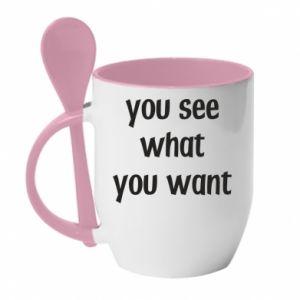 Kubek z ceramiczną łyżeczką You see what you want
