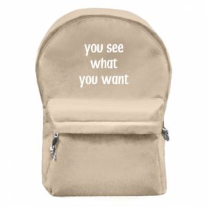Plecak z przednią kieszenią You see what you want