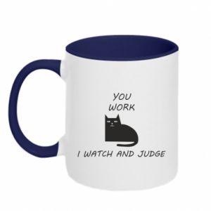 Kubek dwukolorowy You work i watch and judge