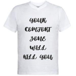 Męska koszulka V-neck Your comfort zone will kill you