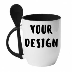 Mug with ceramic spoon Your design