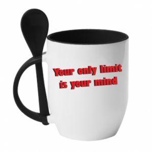 Kubek z ceramiczną łyżeczką Your only limit is ...