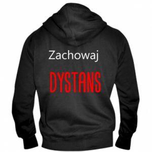 Men's zip up hoodie Keep distance - PrintSalon