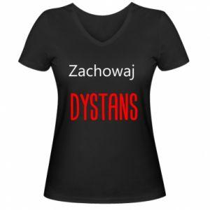 Women's V-neck t-shirt Keep distance - PrintSalon