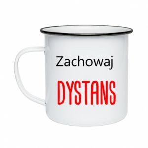 Enameled mug Keep distance - PrintSalon