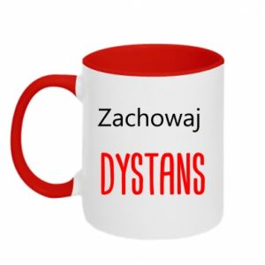 Two-toned mug Keep distance - PrintSalon