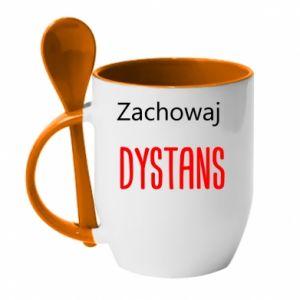 Mug with ceramic spoon Keep distance - PrintSalon