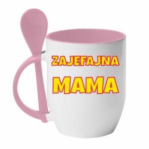 Kubek z ceramiczną łyżeczką Zajefajna mama
