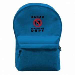 Backpack with front pocket Ban on u-turns of the ass