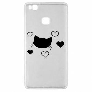Huawei P9 Lite Case Cat in love
